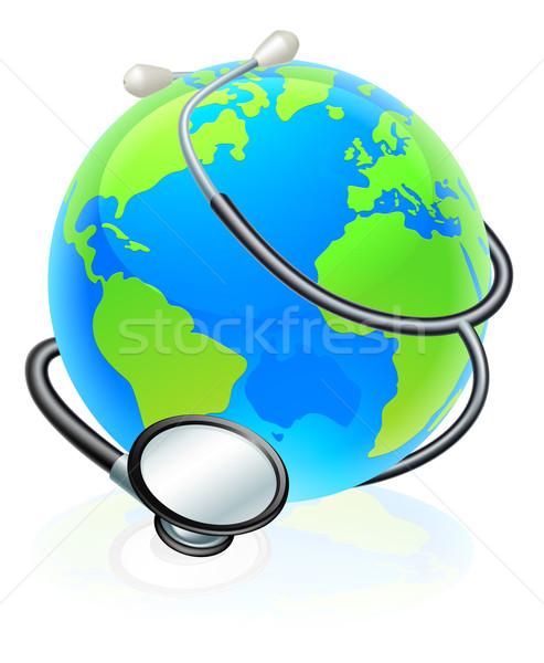 World Stethoscope Earth Globe Health Concept Stock photo © Krisdog