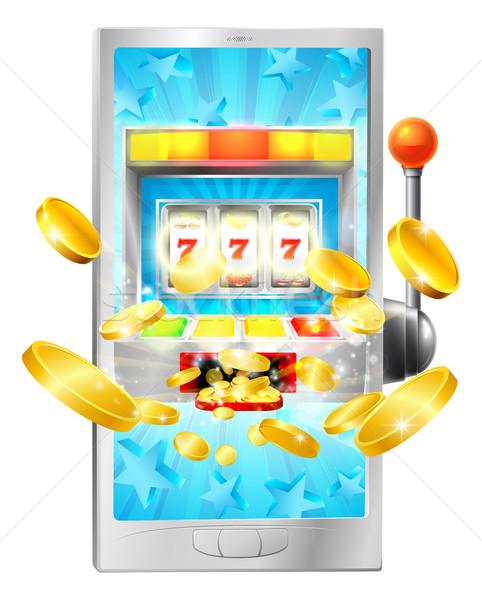 Játékautomata mobiltelefon illusztráció pénz terv kaszinó Stock fotó © Krisdog