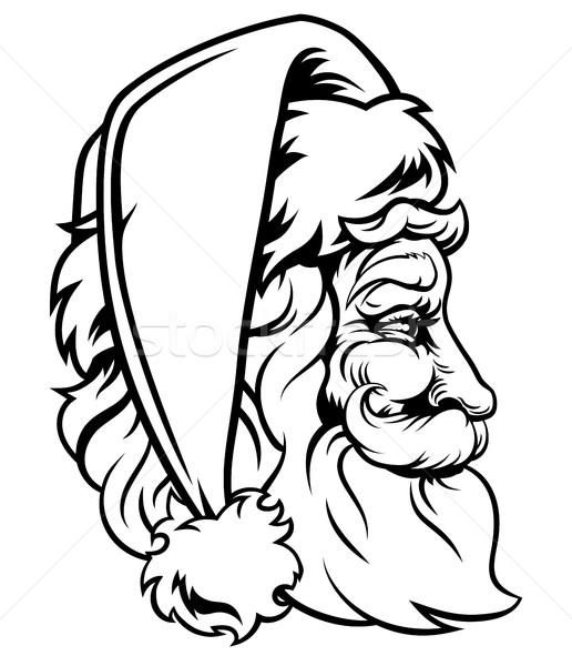 Christmas Santa Claus Woodcut Style Stock photo © Krisdog