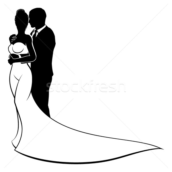 Stock photo: Bride and Groom Couple Wedding Silhouette