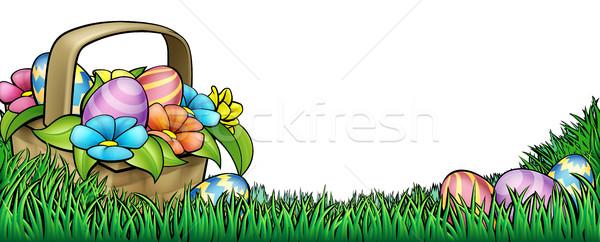 Easter egg hunt Pasqua confine frame basket easter eggs Foto d'archivio © Krisdog