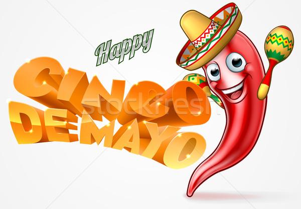 Cinco De Mayo Mexican Chilli Pepper Design Stock photo © Krisdog