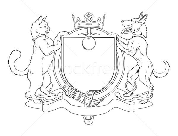 Cat and dog pets heraldic shield coat of arms Stock photo © Krisdog