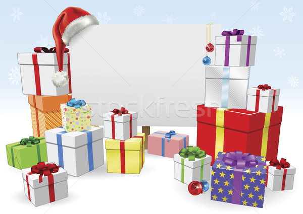 Christmas sign and gifts concept Stock photo © Krisdog