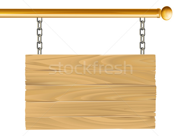 Wood suspended sign illustration Stock photo © Krisdog