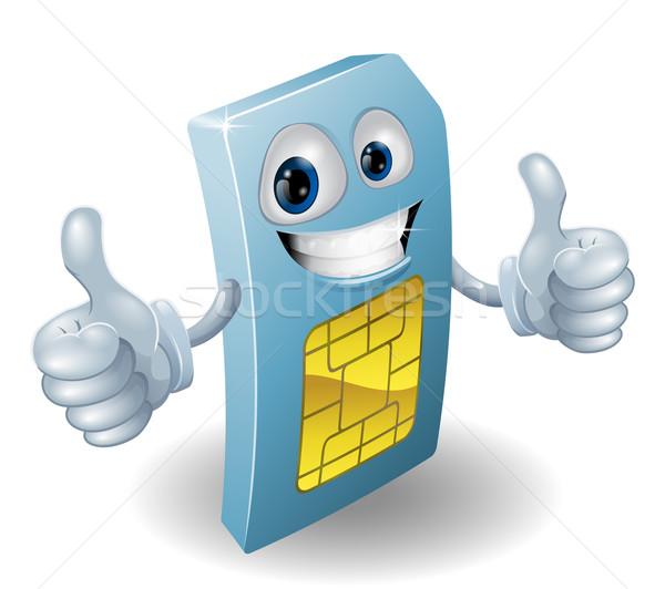 Thumbs up phone sim card person Stock photo © Krisdog