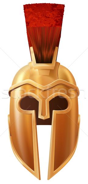 Сток-фото: шлема · иллюстрация · бронзовый · спартанский · подобно · используемый