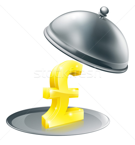 Pound on silver platter concept Stock photo © Krisdog