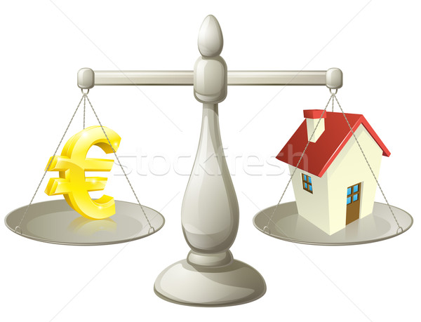 House cash euro scales concept Stock photo © Krisdog