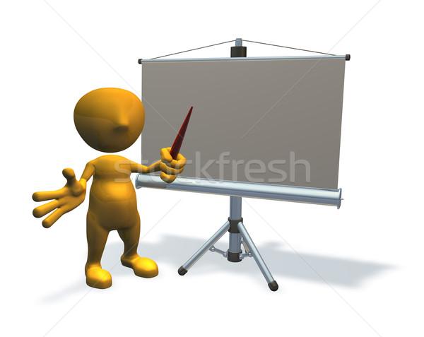 3d business character with presentation equipment Stock photo © Krisdog