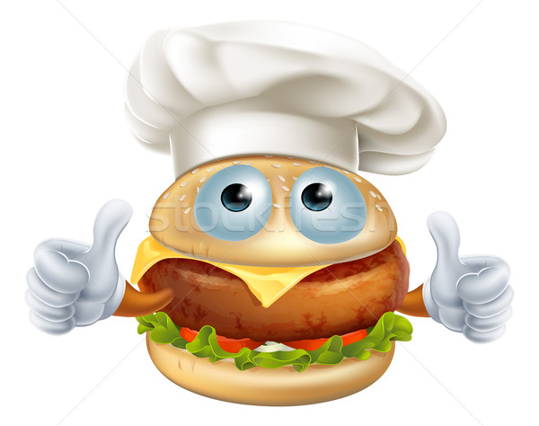 Rajz szakács hamburger karakter jókedv visel Stock fotó © Krisdog