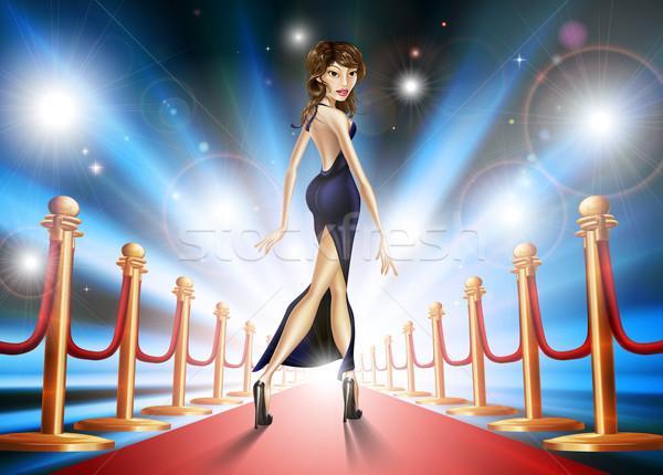 レッドカーペット 女性 実例 エレガントな 美しい 有名人 ストックフォト © Krisdog