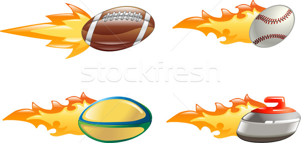 Shiny glossy flame sport icons Stock photo © Krisdog