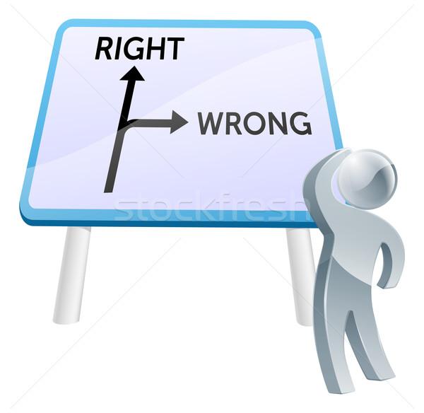 Direito errado assinar homem direção Foto stock © Krisdog