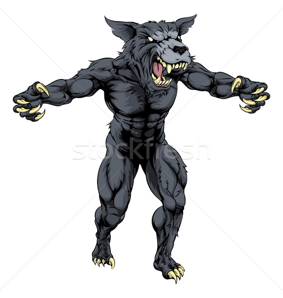 Wolf man with claws out Stock photo © Krisdog