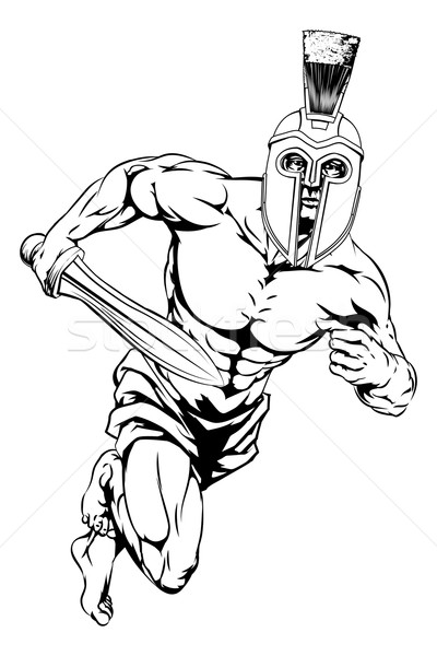 Spartan casque guerrier illustration gladiator personnage Photo stock © Krisdog