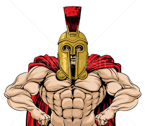 Spartan soldat illustration résistant style permanent Photo stock © Krisdog