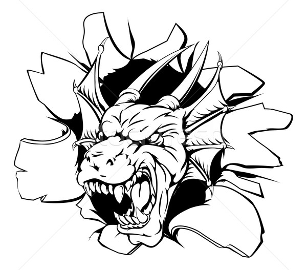Dragon head coming through wall Stock photo © Krisdog