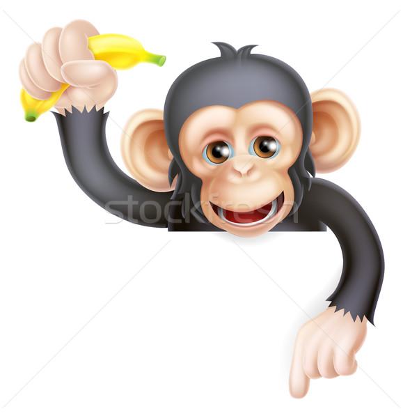 Muz şempanze maymun işaret karikatür gibi Stok fotoğraf © Krisdog