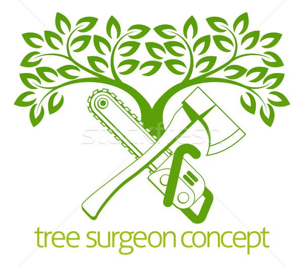 Tree Surgeon Axe and Cainsaw Design Stock photo © Krisdog