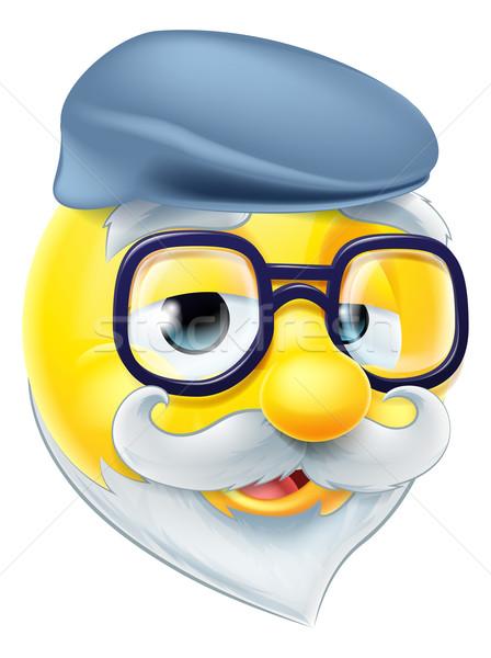 Ouderen man emoticon gepensioneerde oude man Stockfoto © Krisdog