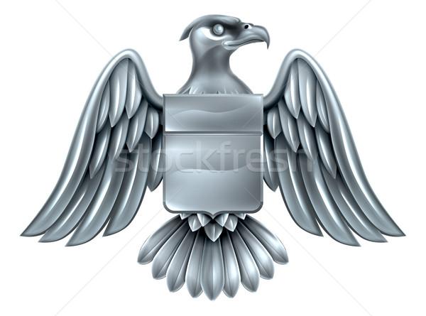 орел щит пальто оружия серебро металл Сток-фото © Krisdog