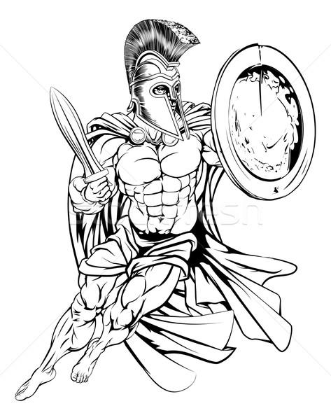 Grieks spartaans krijger illustratie gespierd sterke Stockfoto © Krisdog