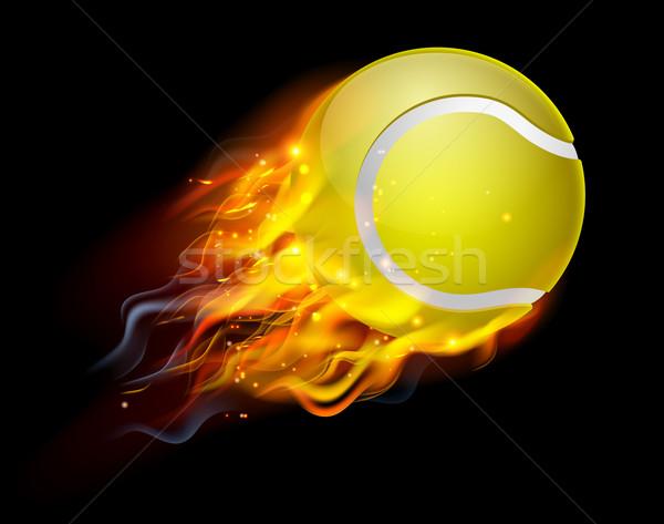 теннисный мяч огня пылающий Flying воздуха спорт Сток-фото © Krisdog