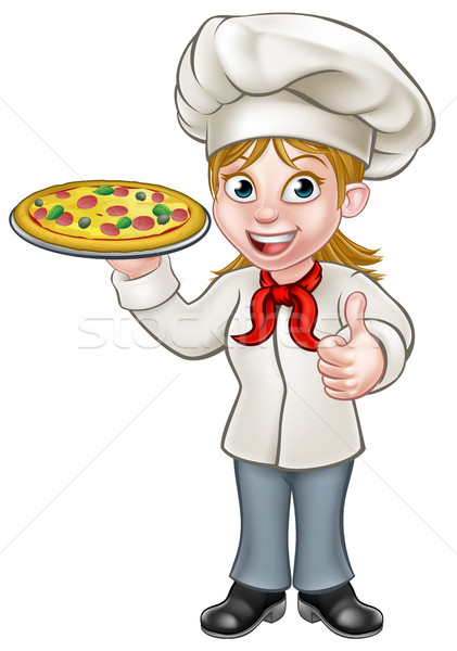 Weiblichen Pizza Küchenchef Zeichentrickfigur Karikatur Frau Stock foto © Krisdog
