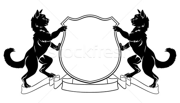 Cats Heraldic Coat of Arms Crest Shield Stock photo © Krisdog
