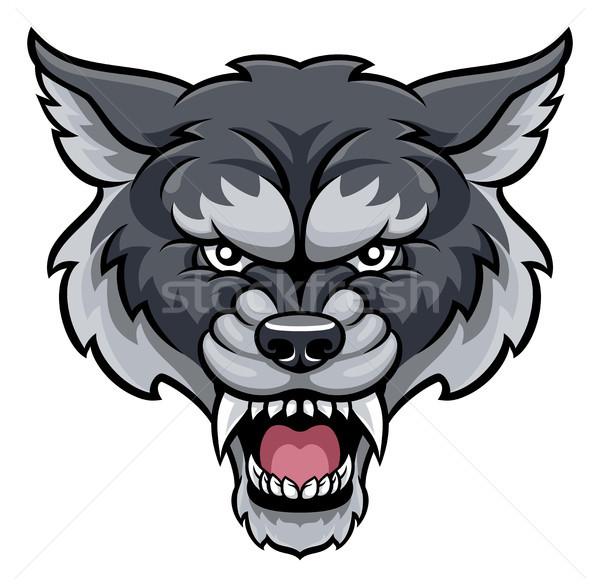 Lobo esportes mascote zangado animal Foto stock © Krisdog