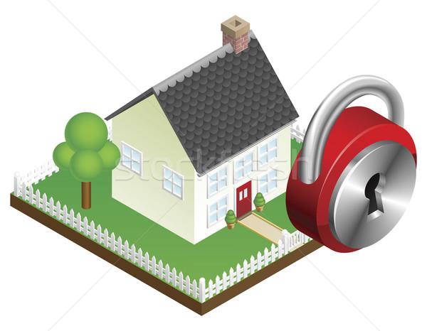 Ev güvenlik banliyö aile ev asma kilit ikon Stok fotoğraf © Krisdog