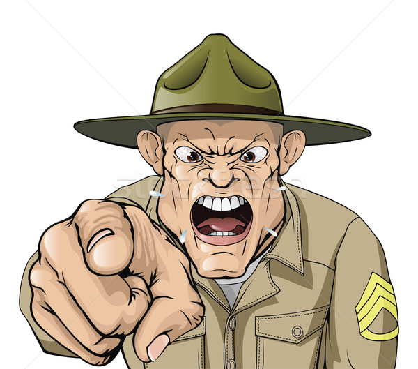 Cartoon angry army drill sergeant shouting Stock photo © Krisdog
