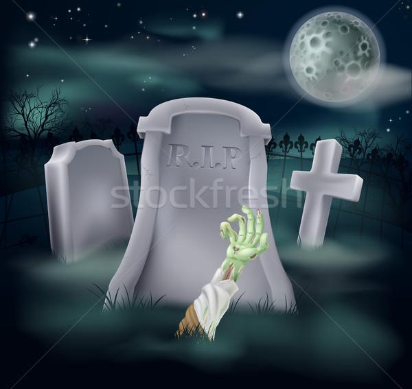 Zombie grave illustration Stock photo © Krisdog