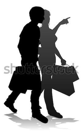 Aantrekkelijk paar silhouet fashion design Stockfoto © Krisdog
