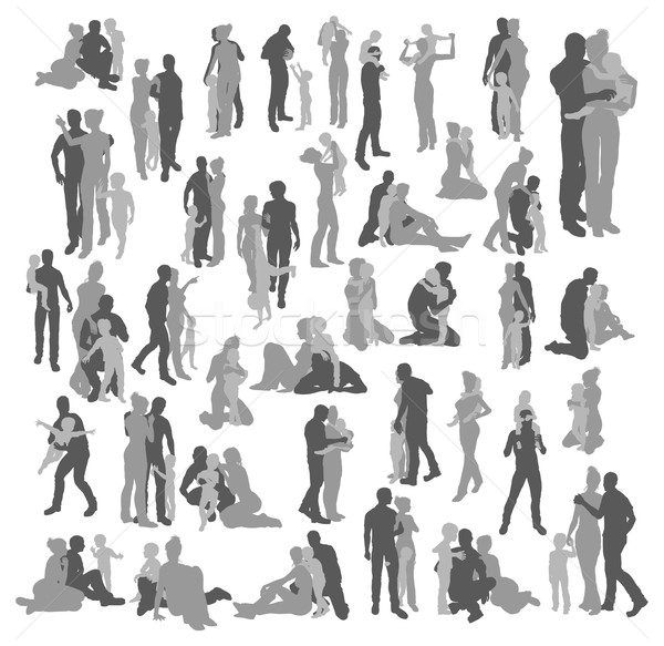 Highly detailed happy family silhouettes Stock photo © Krisdog