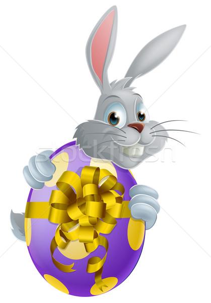 Easter egg bunny witte Easter Bunny rond reus Stockfoto © Krisdog
