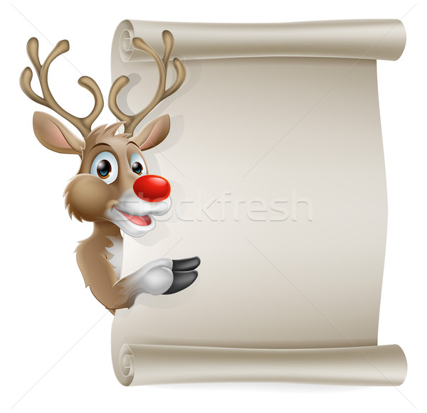 Cartoon reindeer scroll sign Stock photo © Krisdog