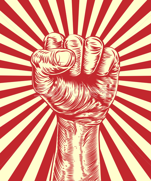 Stock photo: Revolution fist propaganda poster