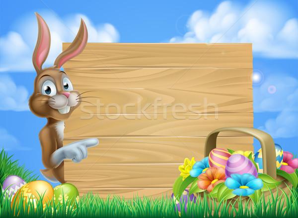 Easter Bunny teken cartoon Pasen mand vol Stockfoto © Krisdog