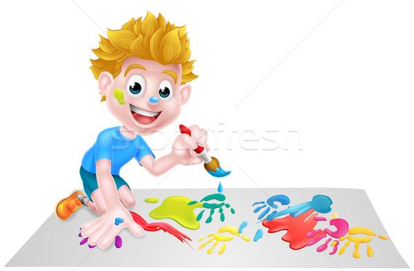 Stock photo: Cartoon Boy Painting With Brush