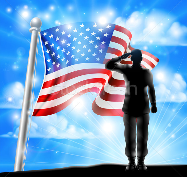 American Flag and Silhouette Soldier Saluting Stock photo © Krisdog