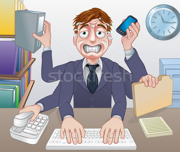 Overwerkt multitasking zakenman cartoon Stockfoto © Krisdog