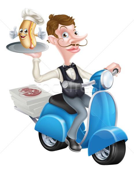 Cartoon Waiter on Scooter Moped With Hot Dog Stock photo © Krisdog