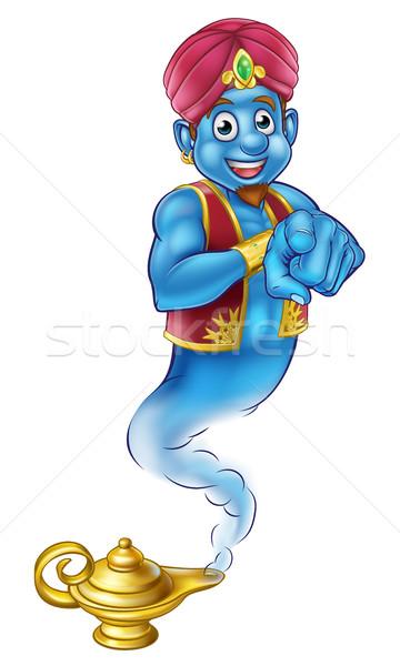 Friendly Cartoon Pointing Genie Stock photo © Krisdog