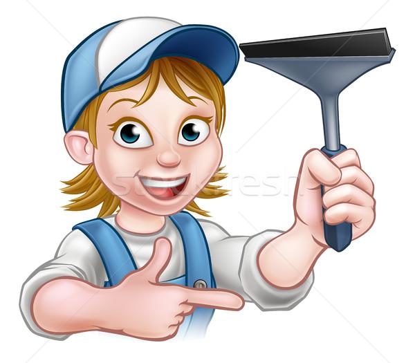 Mulher limpador de janelas handyman trabalhar Foto stock © Krisdog