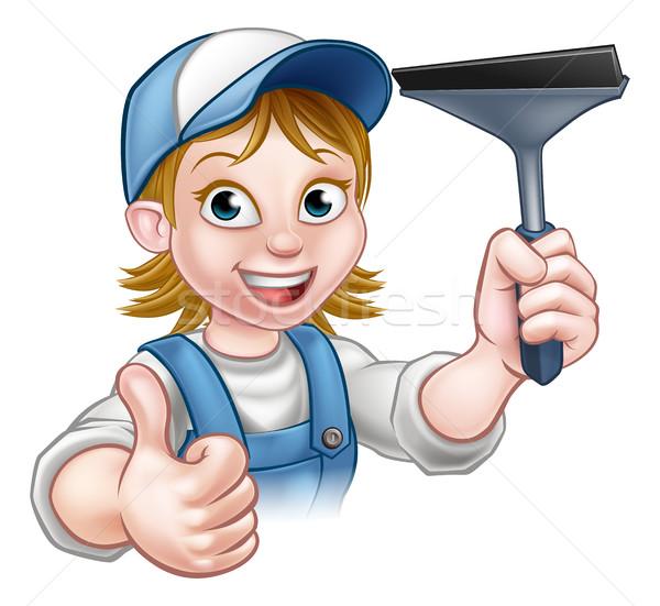 Desenho animado feminino limpador de janelas handyman Foto stock © Krisdog