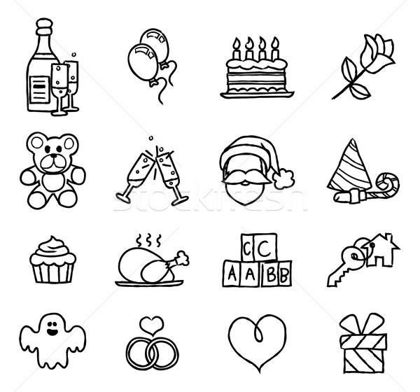 Celebration Holiday or Gift Hand Drawn Icon Set Stock photo © Krisdog
