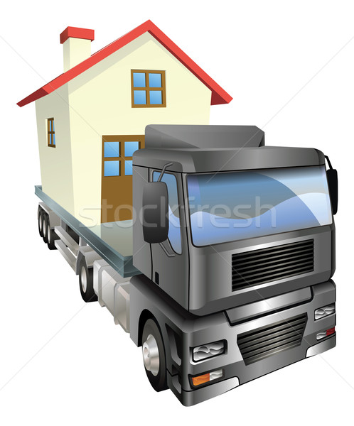 Déménagement camion maison maison Retour Photo stock © Krisdog