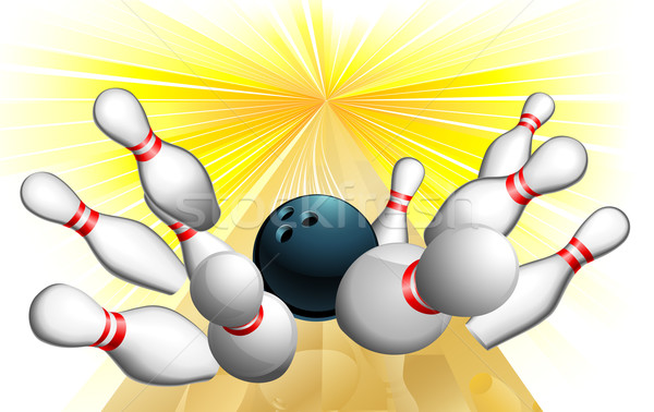Boule de bowling grève illustration design art groupe Photo stock © Krisdog
